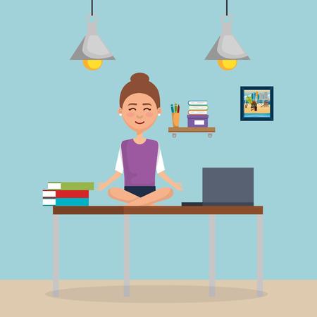 business woman practicing yoga in office desk vector illustration design Illustration