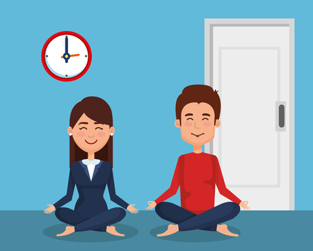 business couple practicing yoga vector illustration design