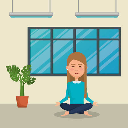 Mujer joven practicando yoga, diseño de ilustraciones vectoriales