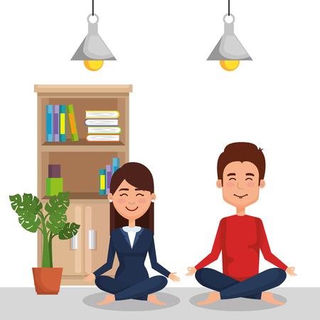 business couple practicing yoga vector illustration design