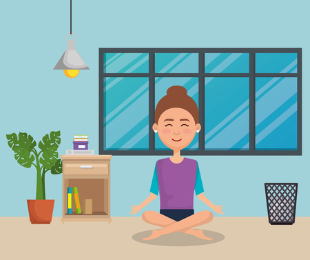 young woman practicing yoga vector illustration design