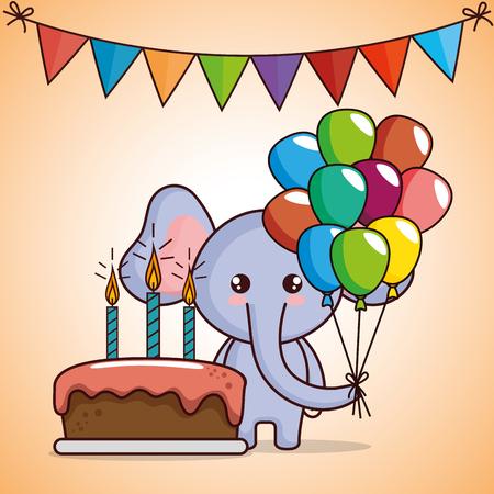 happy birthday card with cute elephant vector illustration design Ilustração