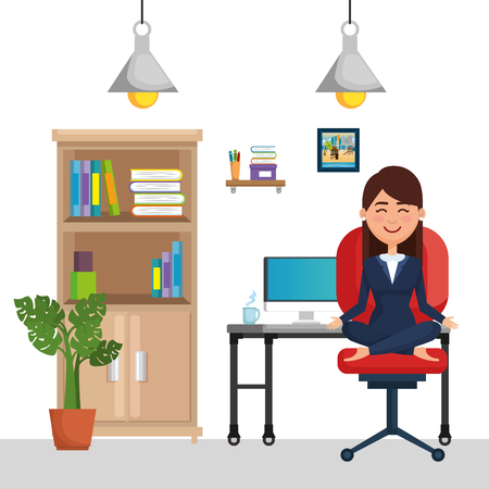 business woman practicing yoga in office chair vector illustration design Illustration
