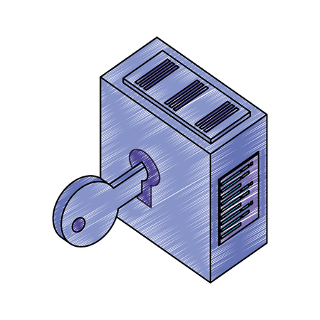 tower server with key security vector illustration design Çizim