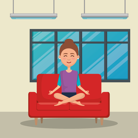 young woman practicing yoga in the sofa vector illustration design