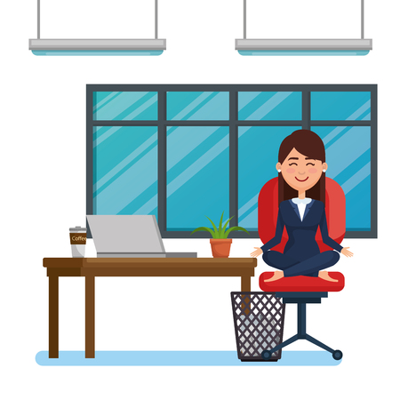 Mujer de negocios practicando yoga en la silla de oficina, diseño de ilustraciones vectoriales