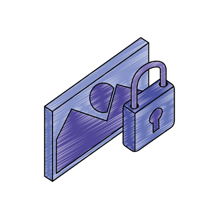 data security padlock with picture vector illustration design Ilustrace