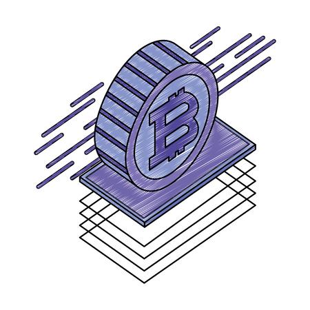 bitcoin virtual isometric icon vector illustration design