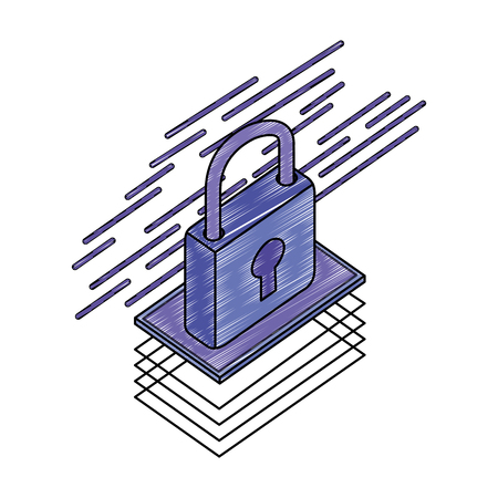 data security padlock icon vector illustration design