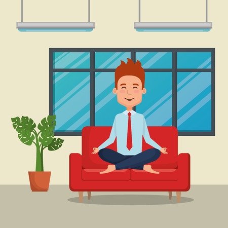 business man practicing yoga in the sofa vector illustration design