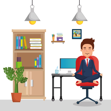 businessman practicing yoga in office chair vector illustration design