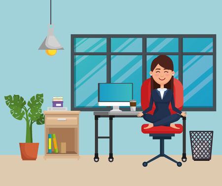 business woman practicing yoga in office chair vector illustration design Ilustração