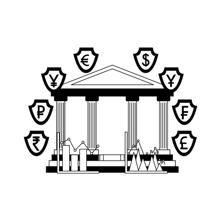 bank building with money international shields vector illustration design Ilustrace