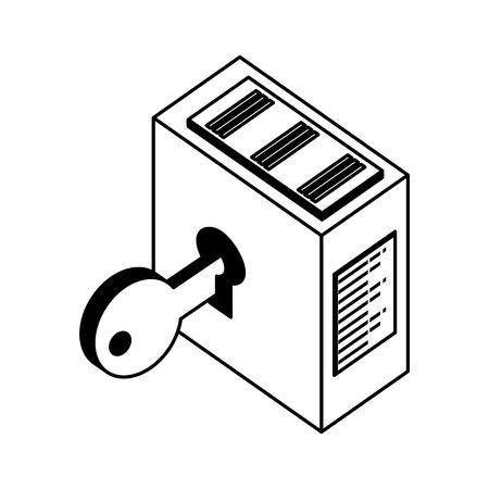 tower server with key security vector illustration design Ilustração