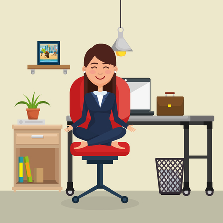 business woman practicing yoga in office chair vector illustration design Vectores