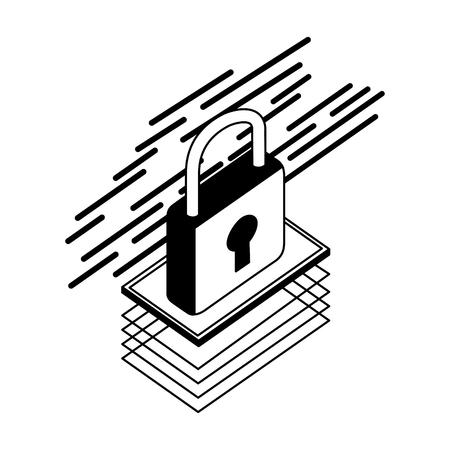 data security padlock icon vector illustration design