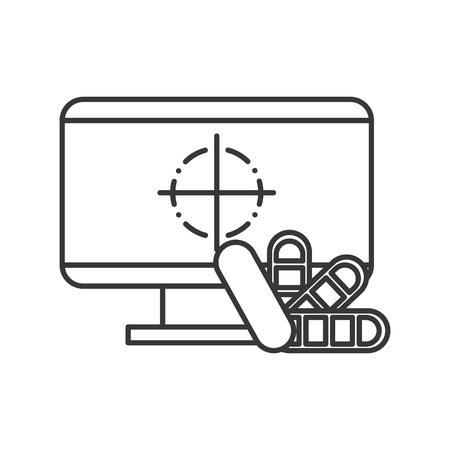 computer color tone program graphic design vector illustration thin line