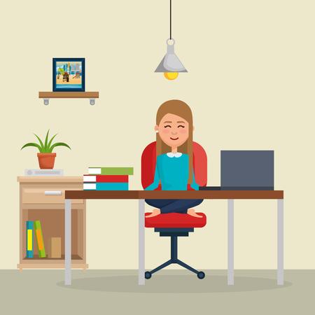 business woman practicing yoga in office chair vector illustration design Illusztráció