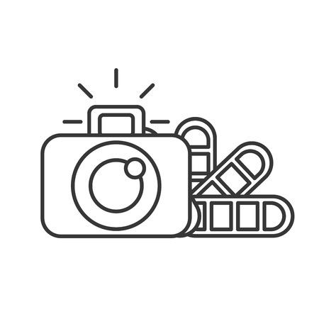 graphic design photographic camera color tone vector illustration thin line Archivio Fotografico - 109952339