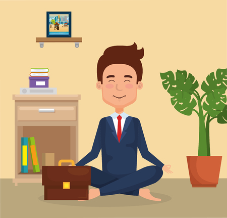 young man practicing yoga vector illustration design