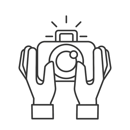 hands holding photographic camera gadget vector illustration thin line