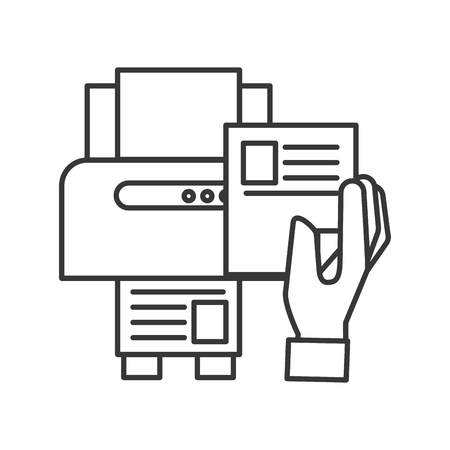 hand holding paper copy printer machine vector illustration thin line