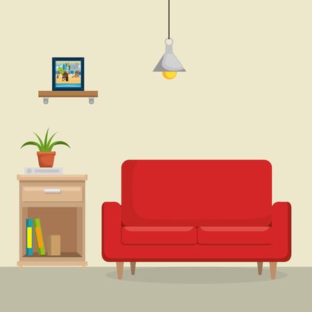 livingroom with sofa scene vector illustration design Illustration