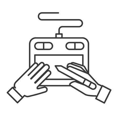 graphic designer hands with tablet digital pen vector illustration thin line