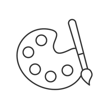 grafisch ontwerp palet kleur verf penseel vector illustratie dunne lijn Vector Illustratie