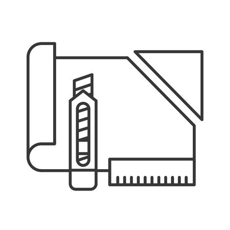 cutter graphic design cut paper ruler work vector illustration thin line