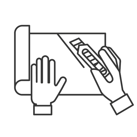 graphic designer hands cutting a paper vector illustration thin line