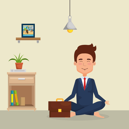 young man practicing yoga vector illustration design