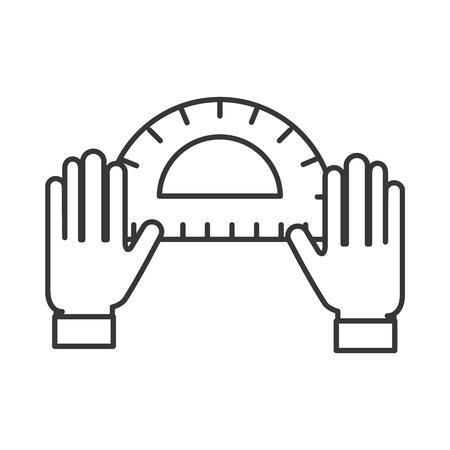 Manos de diseñador gráfico con herramienta transportadora ilustración vectorial línea delgada