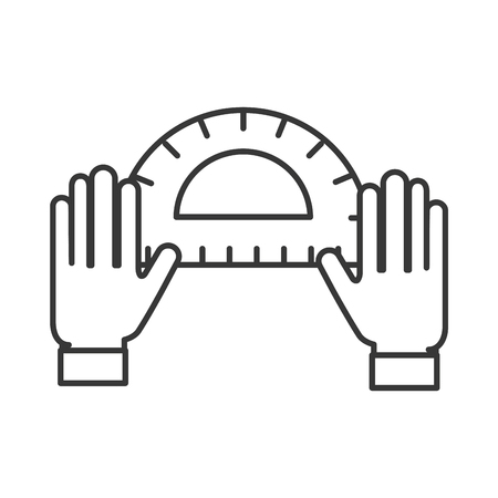 graphic designer hands with protractor tool vector illustration thin line Illustration