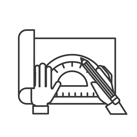 graphic designer hands working with protractor and pencil vector illustration thin line Archivio Fotografico - 109952366