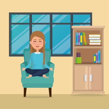 jeune femme, pratiquer, yoga, dans, les, sofa, vecteur, illustration, conception