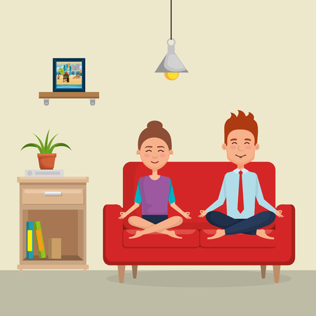 young couple practicing yoga on the sofa vector illustration design Vettoriali