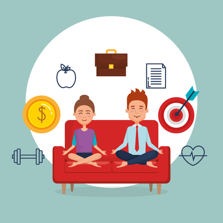 young couple practicing yoga on the sofa vector illustration design