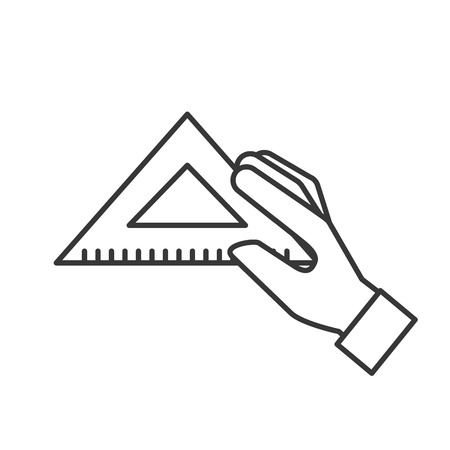 hand holding triangle ruler supply vector illustration thin line
