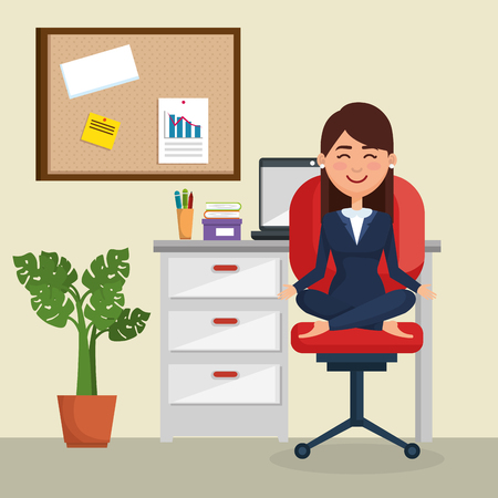 business woman practicing yoga in office chair vector illustration design