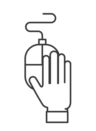hand holding mouse device equipment vector illustration thin line Illustration