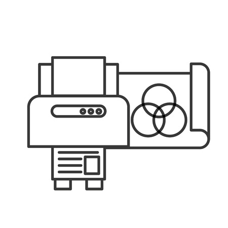 graphic design printer copy paper vector illustration thin line