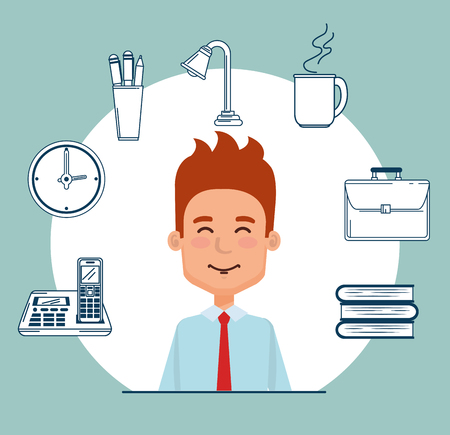 businessman with business set icons vector illustration design 向量圖像