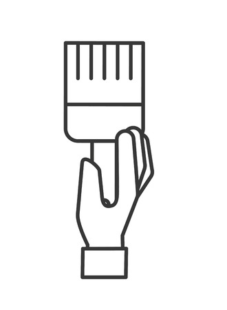 hand holding paint brush artistic vector illustration thin line Çizim
