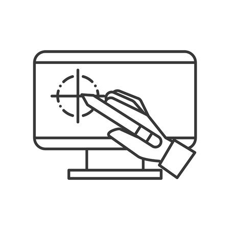 hand holding digital pen computer graphic design vector illustration thin line 向量圖像