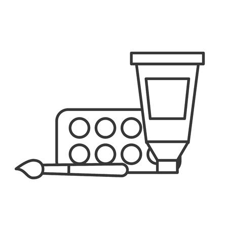 artistic design color tube palette and brush vector illustration thin line