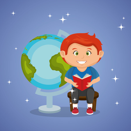 little schoolboy with world planet vector illustration design