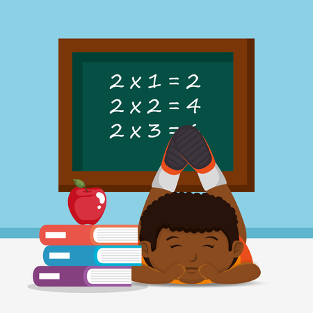 little afro schoolboy with chalkboard vector illustration design Vecteurs
