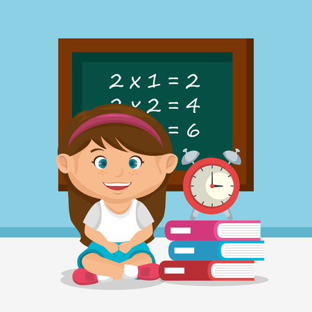 little schoolgirl with chalkboard vector illustration design Stock fotó - 109952408