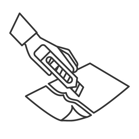 hand with the tool cutting a paper vector illustration thin line